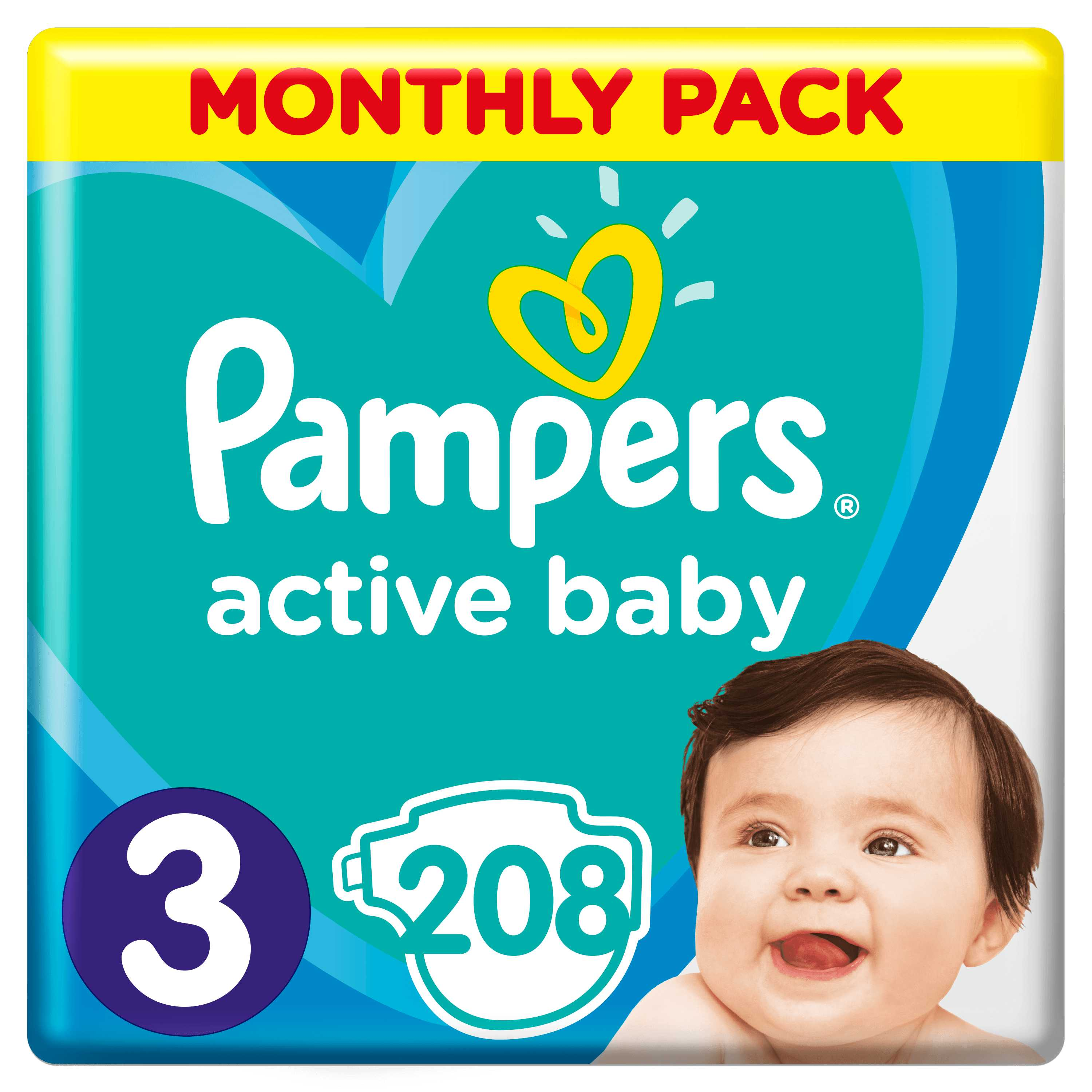 Pampers Active Baby S3 208ks, 6-10kg