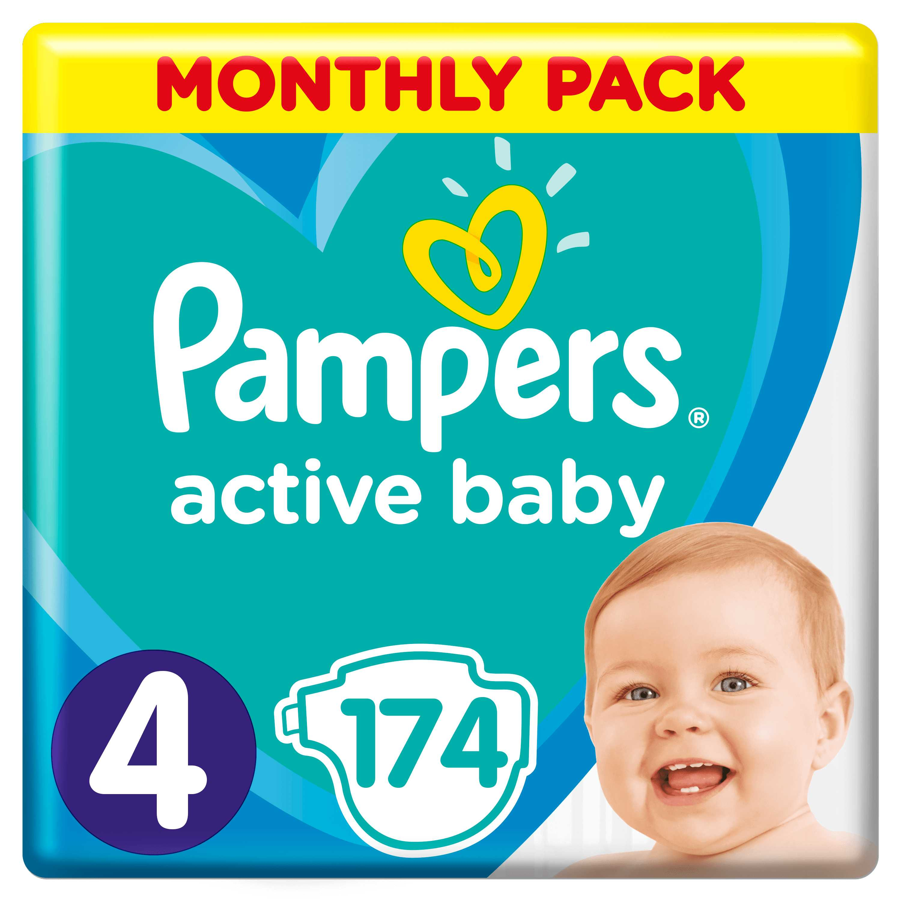 Pampers Active Baby S4 174ks, 9-14kg