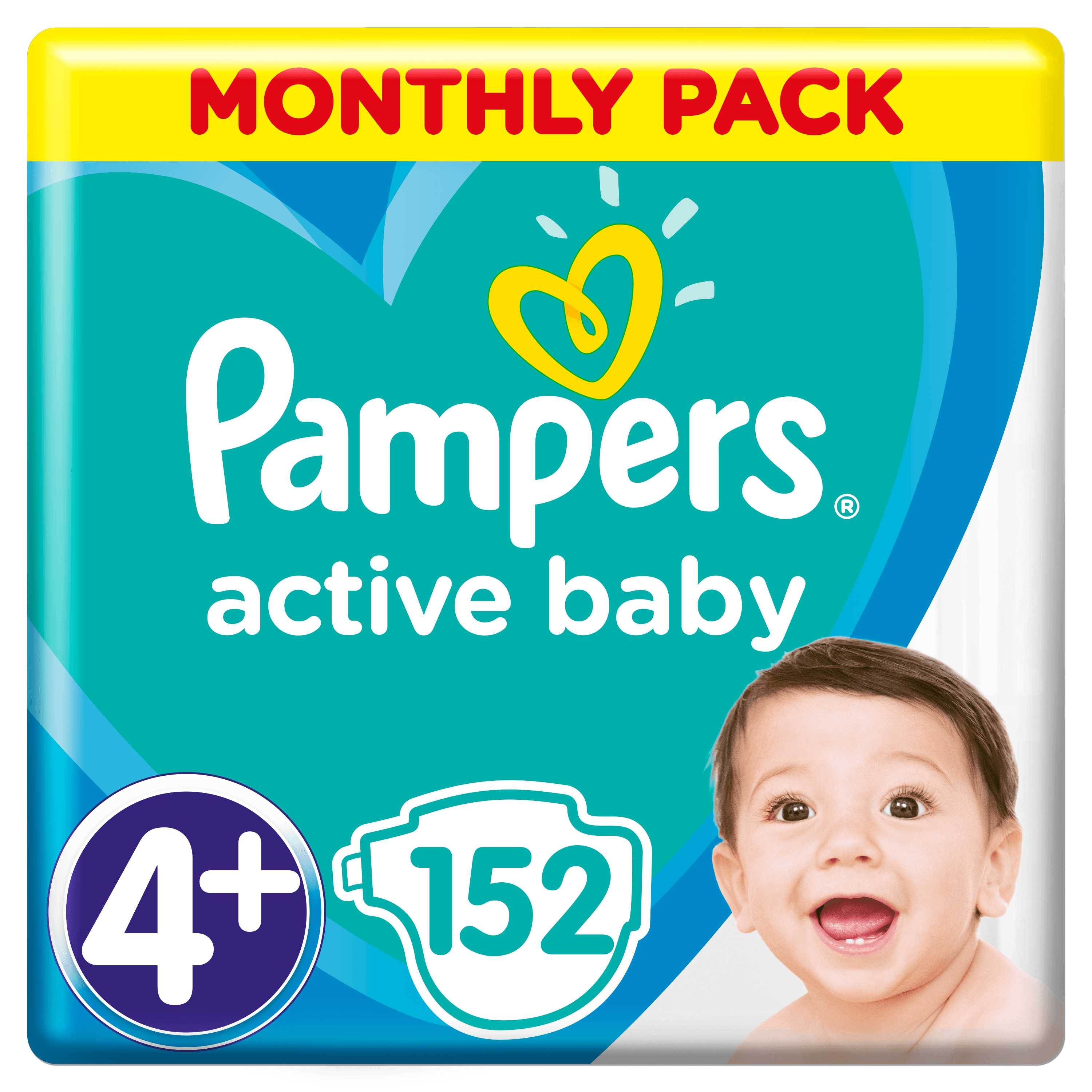 Pampers Active Baby S4+ 152ks, 10-15kg