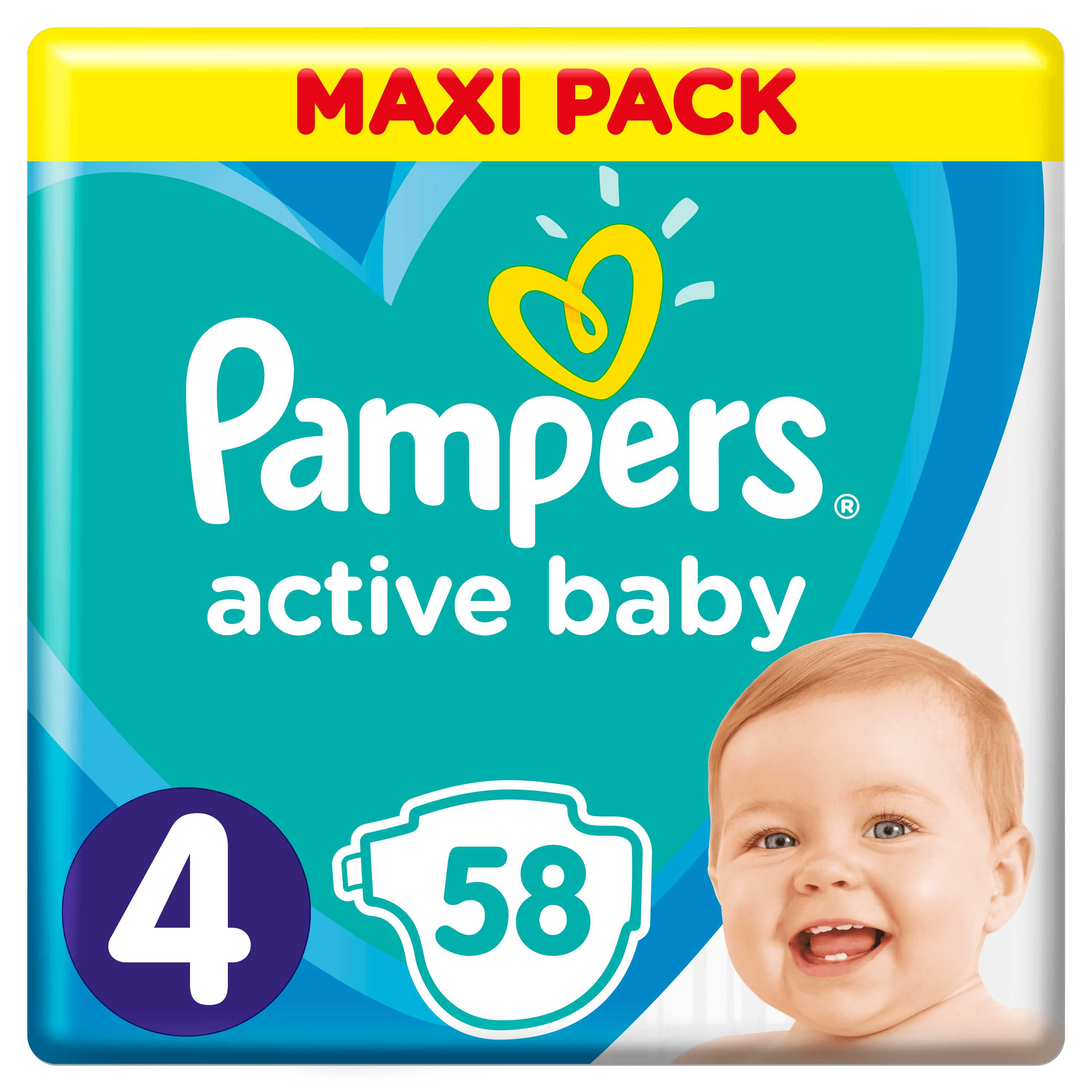 Pampers Active Baby S4 58ks, 9-14 kg