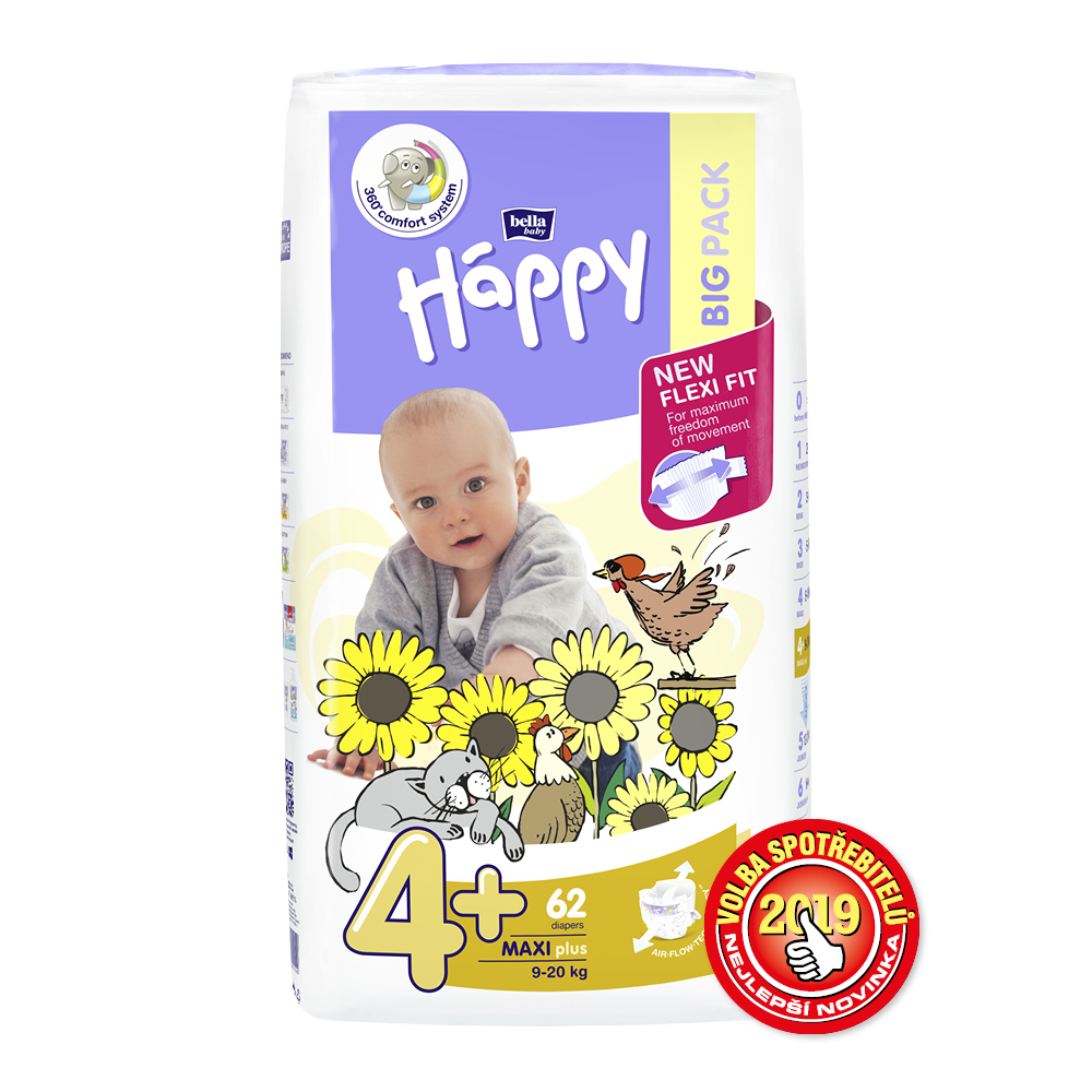 Bella Baby Happy Maxi Plus Big Pack 9-20kg 62 ks