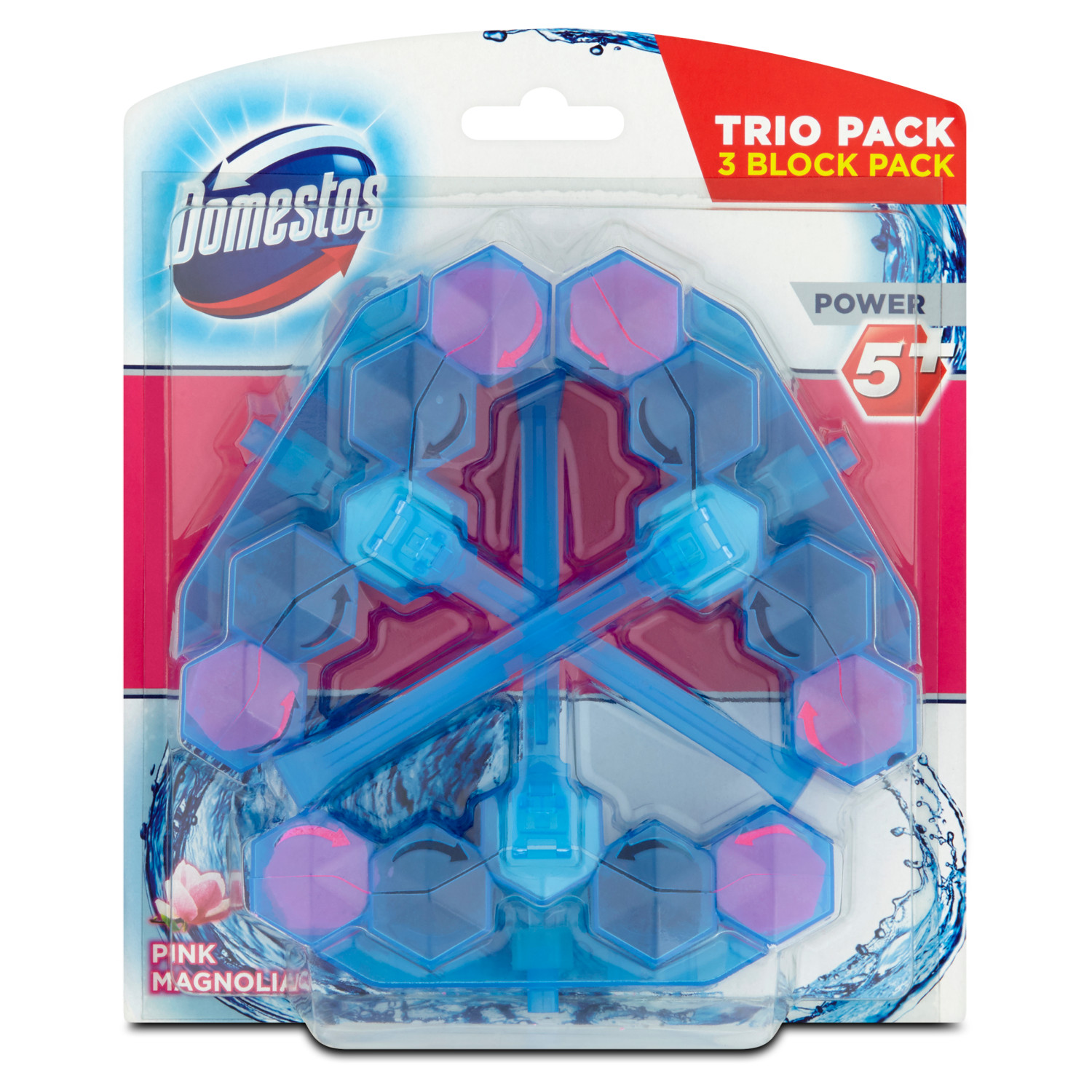 Domestos Power 5+ Blue Water Pink 3x53g