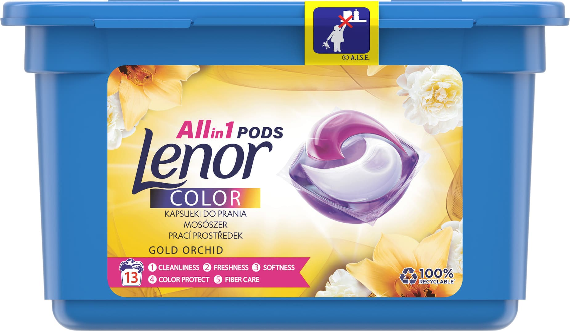 Lenor gelové kapsle All in 1 Color Gold Orchid 13ks