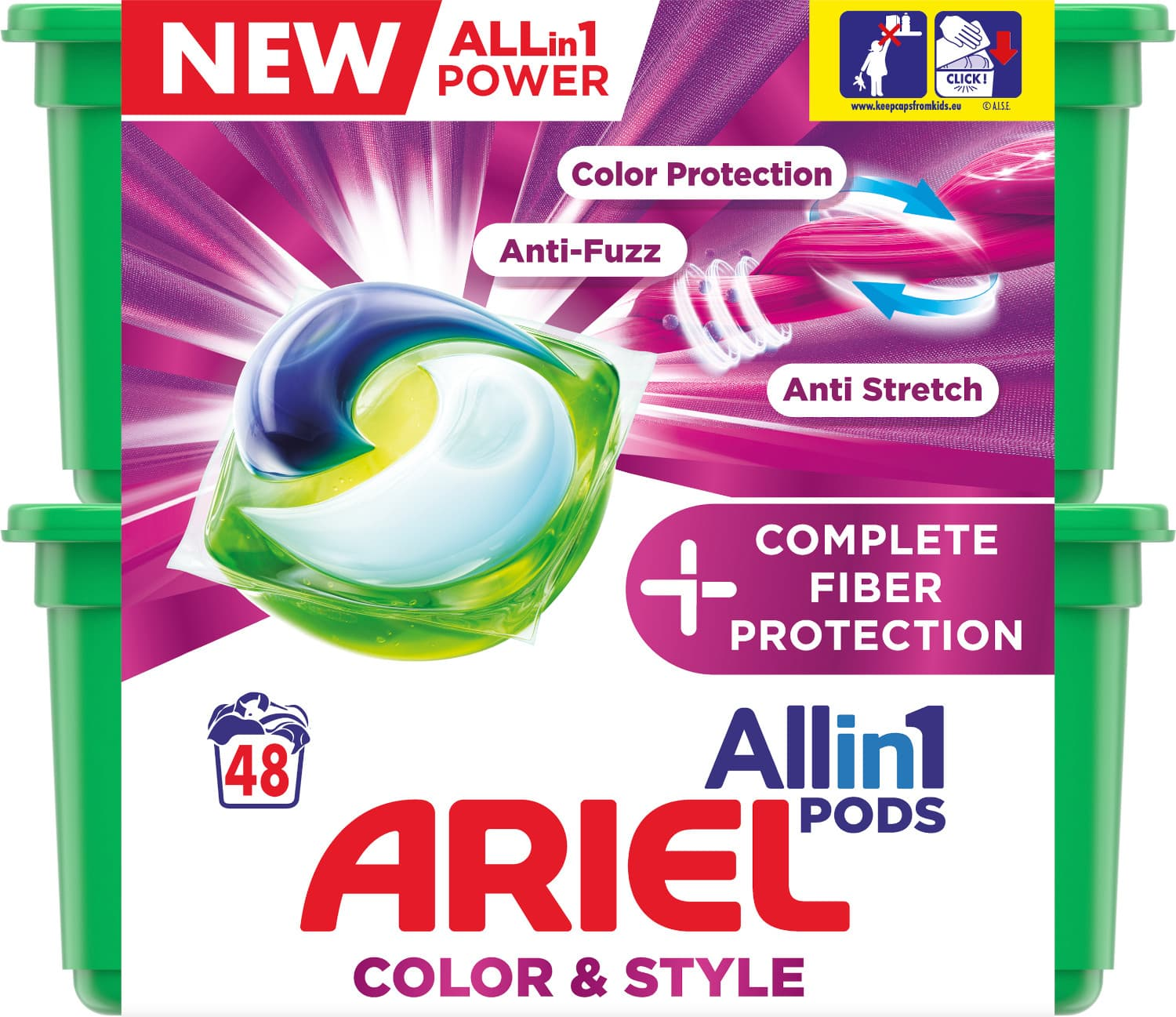 Ariel gelové kapsle All in 1 Color Complete Fiber Protection 48ks