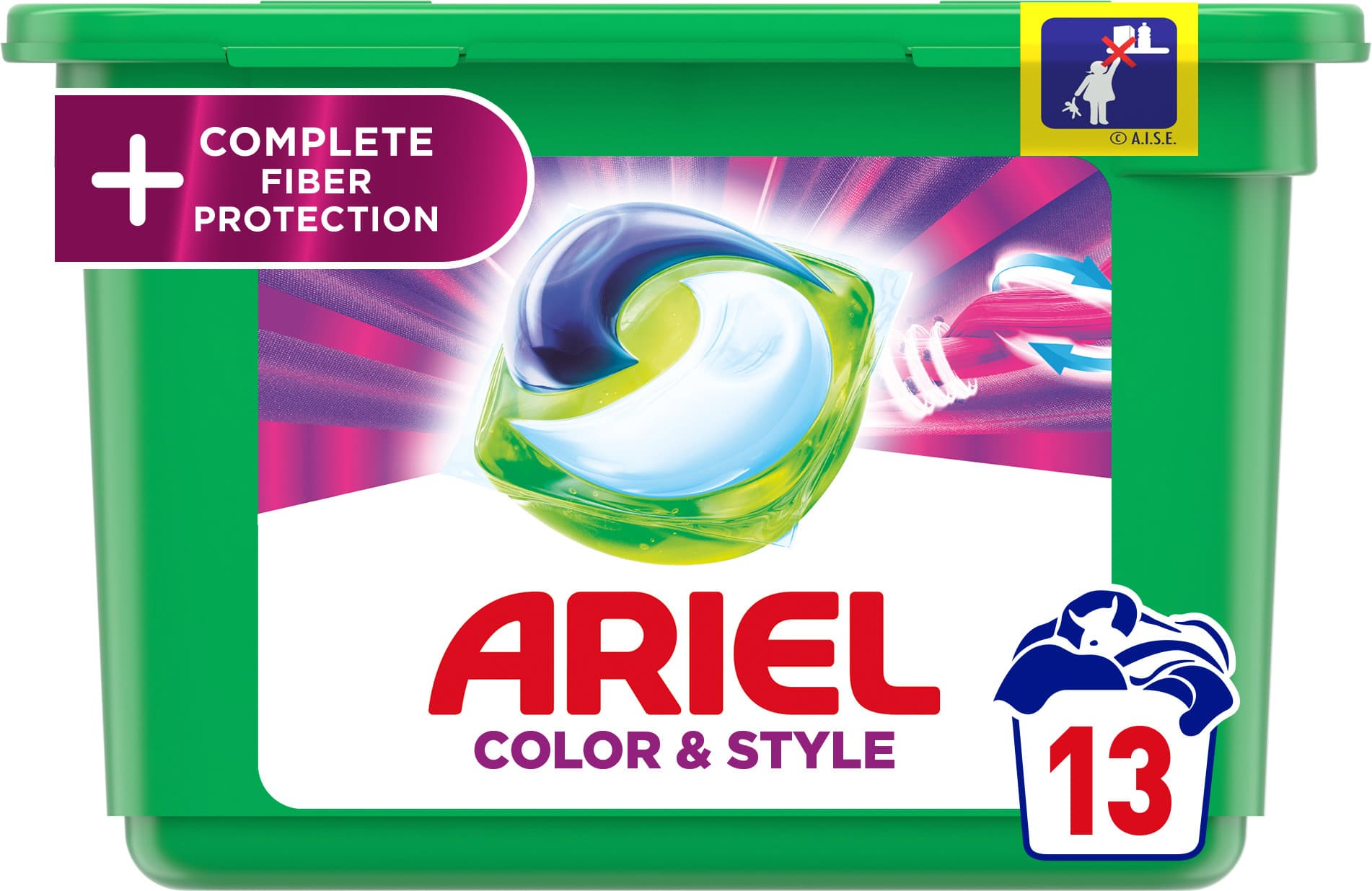 Ariel gelové kapsle All in 1 Color Complete Fiber Protection 13ks