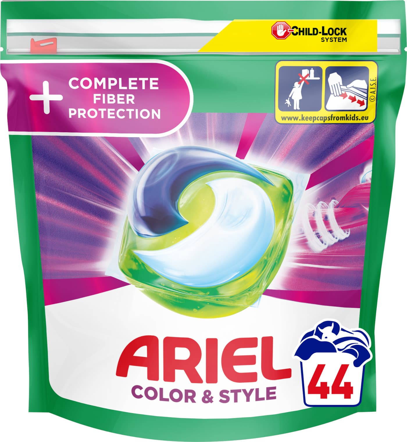 Ariel gelové kapsle All in 1 Color Complete Fiber Protection 44ks