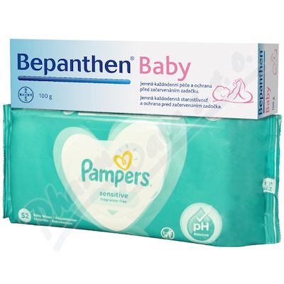 Bepanthen Baby mast 100g + Pampers ubrousky 52ks